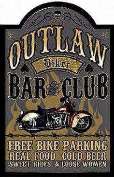 outlaw biker bar & pub   20x30 cm