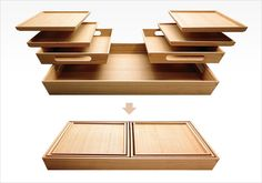 Japanese stacking trays by OBON.--Great if you don't have a lot of space to put plates n stuff