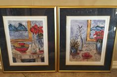 Joyce Combs Gold Framed match SET Whimsical Blue Red European Holiday I and European Holiday II Lithograph Print Art by eleganttouches10 on Etsy