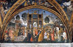 File:Pinturicchio - St Catherine's Disputation -Cem Sultan sarığı ile Lucrezia Borgia ve İmparator Maximian'ın arasında durmaktadır, Appartamento Borgia (1492-1494)