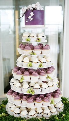 Maybe pink and white cupcake tower layers... Like this tower display form