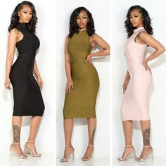 Perfectly accentuate all of your curves in the Penelope V Dress. Available in black, olive, and blush! Which will you choose? www.bit.ly/1Uy2e7y