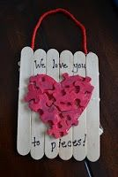 Mother's Day Gifts, Crafts, Ideas - Love you to pieces: paddlepop sticks, old puzzle pieces...can do! Pic only!
