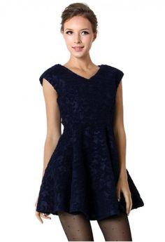 Navy Blue Lace Dress #ChicWish