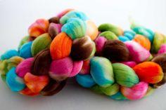'bella'hand dyed on Polwarth fiber4oz braid
