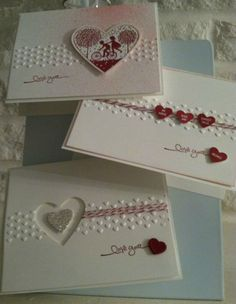 Valentine's Day cards! I like the strip in the middle embossing, small hearts and string embellishment