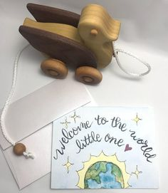 Baby Card / Welcome to the World Little One/ watercolor and ink / single folded card / blank inside / Kraft envelope or Pearl envelope