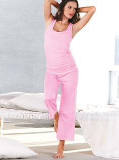 victoria secret tank top cotton bottom pajamas   Victoria's Secret Racerback Pajama Pink M in Pink (white)