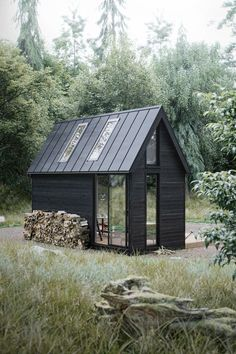 ideas for house black exterior metal roof Tiny House Cabin, Tiny House Design, Cabana, Scandinavian House, Scandinavian Architecture, Casas Containers, Cabins And Cottages, Log Cabins, Cabins In The Woods