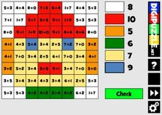 Math Mosaics: Winter: It's color by number! To determine the color of each space solve each addition problem, then use the code at the side of the page. Winter Games, Online Games, Periodic Table, Coding, Education, Math, Mosaics, Free, Puzzles