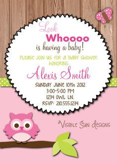 Custom Baby Shower Invitations- Owl Theme