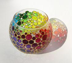 Rainbow Vase Bubbles Candle Holder Painted Glass Sphere Vase