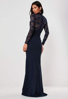 Long Navy Blue Dress for Wedding Luxury Bridesmaid Navy Sheer Lace High Neck Maxi Dress Petite Outfits, Petite Dresses, Dresses Uk, Fashion Dresses, Dresses With Sleeves, Petite Clothes, Formal Dresses, Navy Bridesmaids, Navy Blue Bridesmaid Dresses