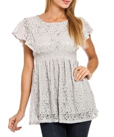 Look what I found on #zulily! Style NY Gray Lace Babydoll Top by Style NY #zulilyfinds