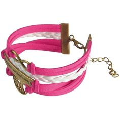 Zodaca Colorful Multistring Leather Bracelet with Silver/ Bronze Alloy... ($6.72) ❤ liked on Polyvore featuring jewelry, bracelets, pink, charm bangle, leather jewelry, silver owl charm, pink jewelry and hot pink jewelry