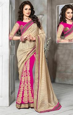 Picture of Beauteous Biscuit Cream and Pink Color Saree