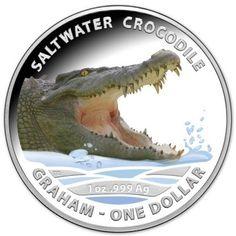 """1 Dollar Silber Salzwasser Krokodil """"Graham"""" PP"""