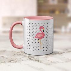 Coffee Mug Pink Flamingo on Black Spots Fun Coffee Cup for the Coffee Lover and Flamingo Lover #flamingo #flamingolove #coffeelover