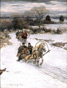 Alfred von Kowalski-Wierusz (Polish, 1849–1915) Winter in Russia, before 1885 Oil on canvas  Milwaukee Art Museum