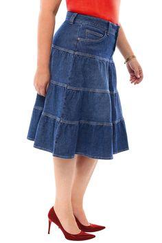360 Stretch Midi Tiered Circle Skirt in Medium Blue – Mercantile Americana Everything Jean Skirt, Denim Skirt, Midi Skirt, Skirt Outfits Modest, Jeans Rock, Denim Jumpsuit, Denim Fabric, Blouse Styles, Ladies Dress Design