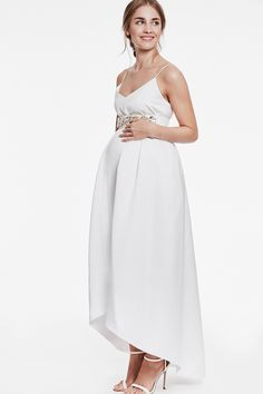 cab35c07be0 Maternity wedding dress in ivory with a crystal belt in white. We love this  High