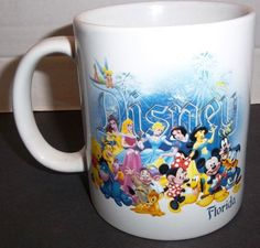 Vintage Disney Florida Coffee Mug Cup Mickey Minnie Mouse Princesses Bambi Pooh