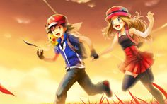 Wallpaper Ash and Serena by Rainbowicescream on DeviantArt