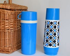 Vintage Thermos Set Blue. Perfect for display or to use!  Kitchen, Decoration, Home Decor, Camping, Travel, Display. Picnic, 1970s by ThePaisleyWhale on Etsy https://www.etsy.com/listing/200188342/vintage-thermos-set-blue-perfect-for