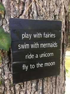 awesome Fairy Sign,Play with fairies Sign, Rustic Wood Pallet Sign, Fly to the Moon Sign, Black White Custom Sign, Child Room Tree Sign