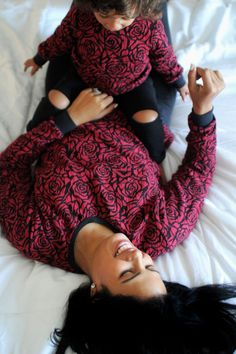 Rose Pattern Sweatshirt for Mommy and Me Matching Outfit