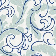 York Wallcoverings Wallpap-Her Serpentine Scroll Wallpaper Blue - WH2653
