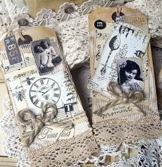 ♥♥♥ these vintage styled Tags, especially the lace mixed with the clock.