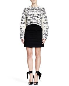 -553Q Alexander McQueen Naive Fair Isle Cropped Zip-Sleeve Sweater & Horizontal Seam Scuba Weave Skirt