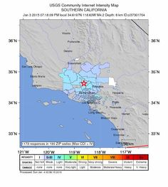"Now over 1000 responses on the ""Did You Feel It?"" map from the USGS.  Now a M4.2 earthquake.January 3, 2015"