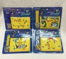 Niños al por mayor de pokemon pikachu reloj y la cartera establece niños reloj y la cartera ir