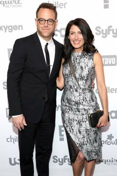 Lisa Edelstein, Paul Adelstein @ NBCUcable upfront 2015 Paul Adelstein, Lisa Cuddy, Girlfriends Guide To Divorce, Lisa Edelstein, Hugh Laurie, Business Casual, Gentleman, Peplum Dress, Leo
