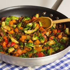Sweet Potato and Brussels Sprouts Hash #yum! how have I never thought of this before?
