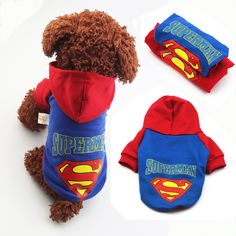 Superman Cotton Hoodie for Chihuahuas and Small Dogs Pet Puppy, Pet Dogs, Pets, Superman, Batman, Small Dog Costumes, Fleece Dog Coat, Puppy Coats, Dog Winter Coat