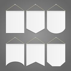white pennant template hanging on wall set. vector illustration of random pennants flags Pennant Template, Pennant Banners, Fabric Banners, Wall Banner, Diy Banner, Hanging Fabric, Colorful Wall Art, Deco Table, Fabric Painting