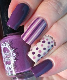 Uñas moradas largas ~ Short Violet Nails