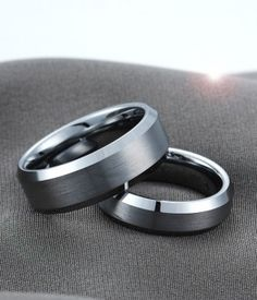 Couple's Beveled Edge Brushed & Polished Tungsten Ring Set | Tungsten Carbide Rings 24HOUR SHIPPING