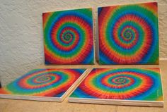 Unique Tie Dye Coasters  Style I by TexasTieDyeGuy on Etsy, $12.99