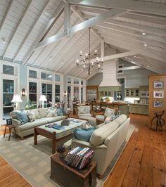 grand salon ouvert cuisine avec parquet. magnifique !