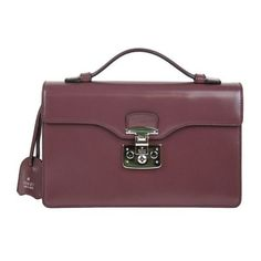 Pre-Owned Gucci  Dark Mauve Leather Lady Lock Briefcase Clutch Bag... ($900) ❤ liked on Polyvore featuring bags, handbags, clutches, purple, gucci handbags, leather clutches, leather handbags, real leather purses and real leather handbags