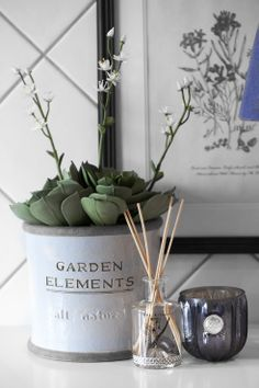 NATURAL ROOM diffuser, DANTE tealight and ADORA flower pot with FLORA decoration succulent. Lene Bjerre spring 2014.