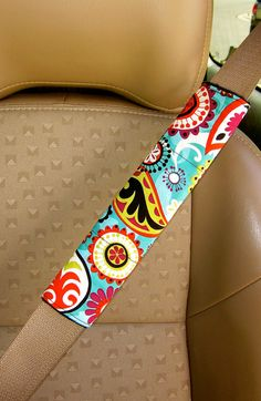 Seat Belt Cover- Funky Paisley with Reversible Soft Black Minky.