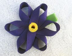 Sculpted Purple Spring Ribbon Flower Clip with Yellow by BabyABows, $3.00