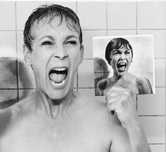 Jamie Lee Curtis recreates her mom's famous Psycho shower scene!