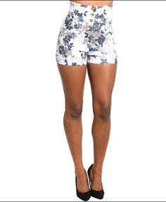 Super Cute Women's High Waist Shorts Floral White Fashion Booty
