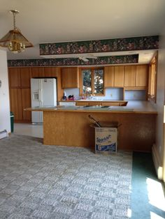 Our fixer upper before of kitchen and dining area Dining Area, Kitchen Dining, Fixer Upper, Corner Desk, New Homes, Bed, House, Furniture, Home Decor